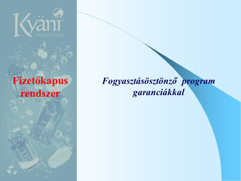 Fizetőkapus rendszer Fogyasztásösztönző program garanciákkal