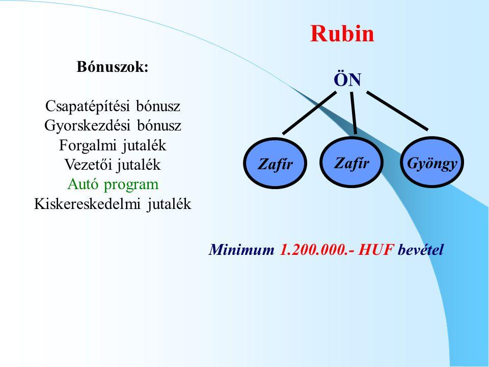 Rubin ÖN Zafír Minimum 1.200.000.- HUF bevétel Bónuszok: Csapatépítési bónusz Gyorskezdési bónusz Forgalmi jutalék Vezetői jutalék Autó program Kisker