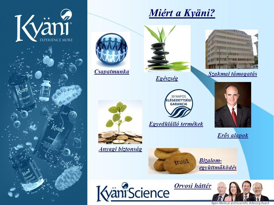Miért a Kyäni? Orvosi háttér Szakmai támogatás Bizalom- együttműködés Csapatmunka Erős alapok Egészség Anyagi biztonság Egyedülálló termékek