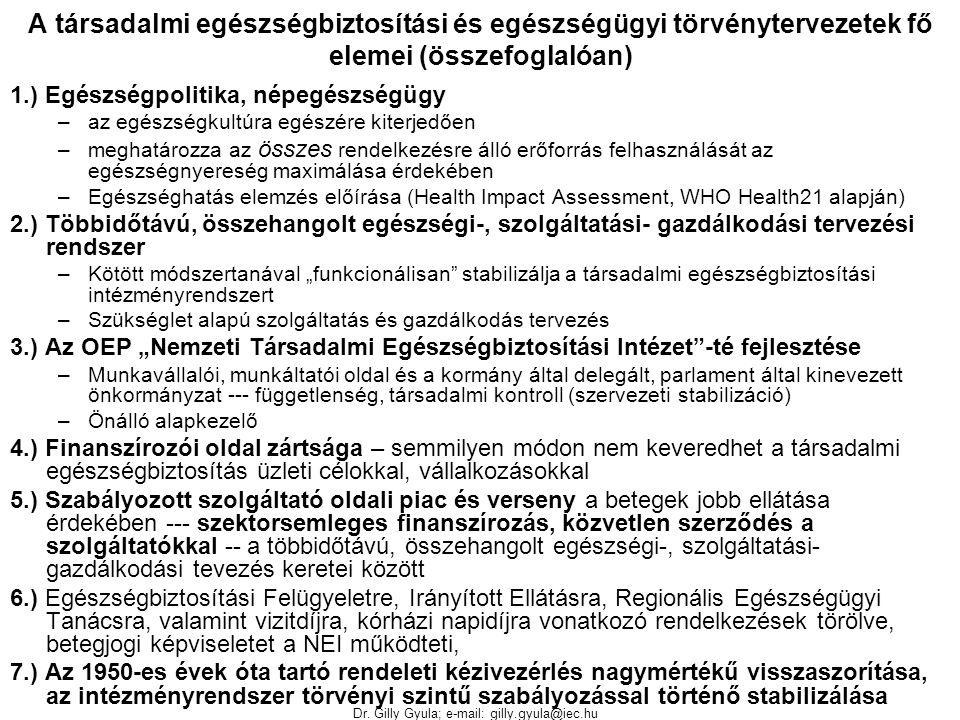 Dr. Gilly Gyula; e-mail: gilly.gyula@iec.hu A társadalmi egészségbiztosítási és egészségügyi törvénytervezetek fő elemei (összefoglalóan) 1.) Egészség