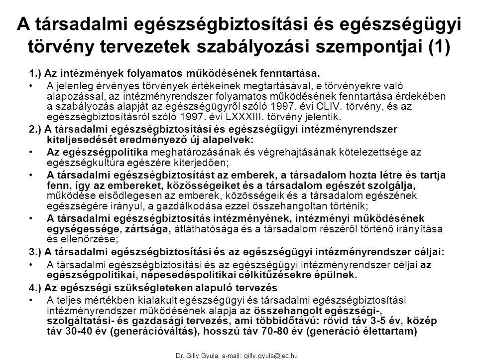 Dr. Gilly Gyula; e-mail: gilly.gyula@iec.hu A társadalmi egészségbiztosítási és egészségügyi törvény tervezetek szabályozási szempontjai (1) 1.) Az in