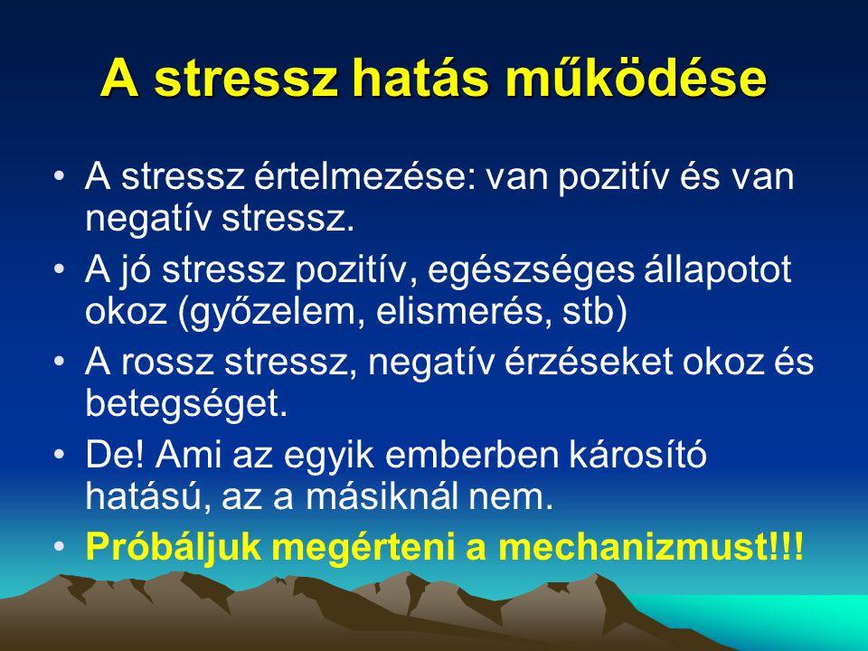 A stressz hatás működése A stressz értelmezése: van pozitív és van negatív stressz. A jó stressz pozitív, egészséges állapotot okoz (győzelem, elismer