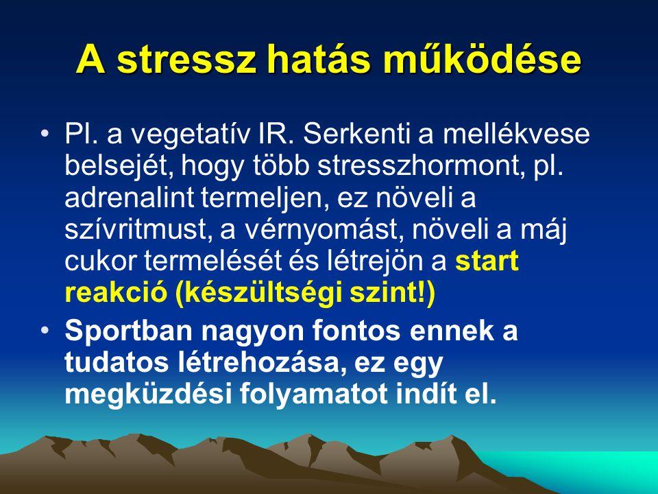 A stressz hatás működése Pl. a vegetatív IR. Serkenti a mellékvese belsejét, hogy több stresszhormont, pl. adrenalint termeljen, ez növeli a szívritmu