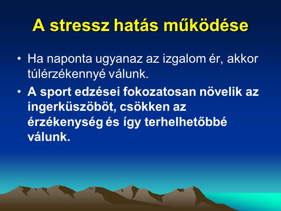 A stressz hatás működése Ha naponta ugyanaz az izgalom ér, akkor túlérzékennyé válunk. A sport edzései fokozatosan növelik az ingerküszöböt, csökken a