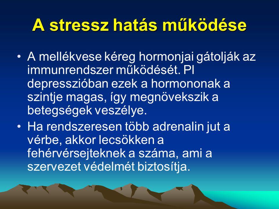 A stressz hatás működése A mellékvese kéreg hormonjai gátolják az immunrendszer működését. Pl depresszióban ezek a hormononak a szintje magas, így meg