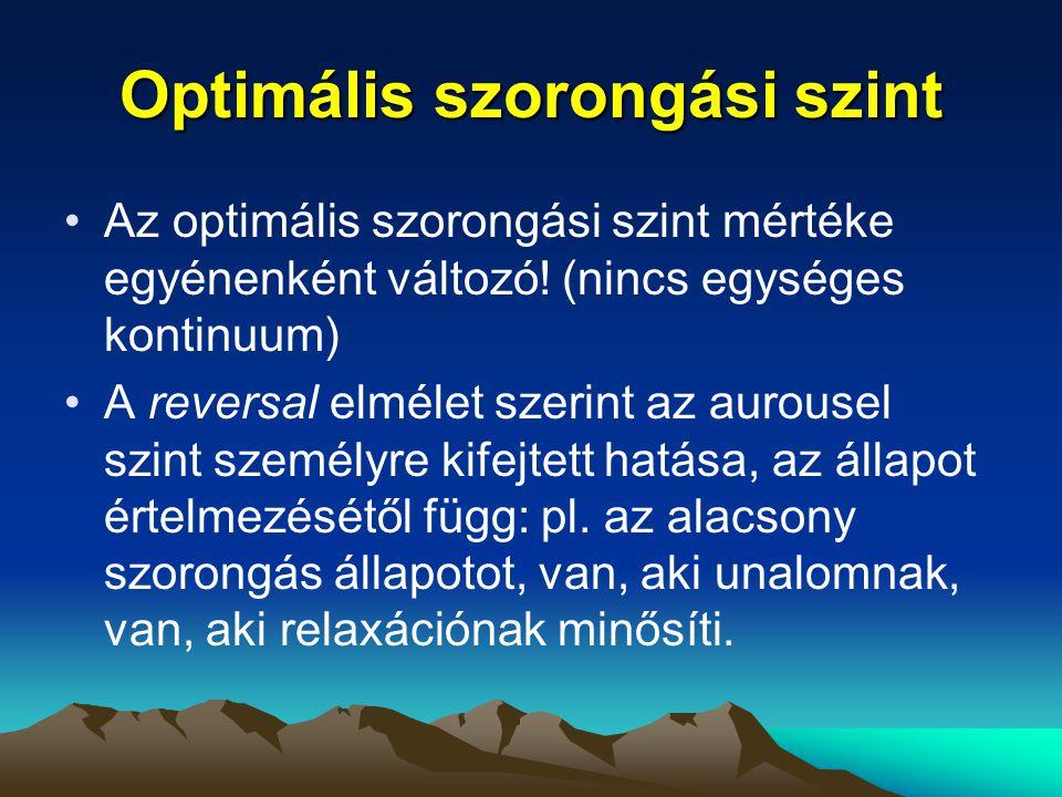 Optimális szorongási szint Az optimális szorongási szint mértéke egyénenként változó! (nincs egységes kontinuum) A reversal elmélet szerint az aurouse