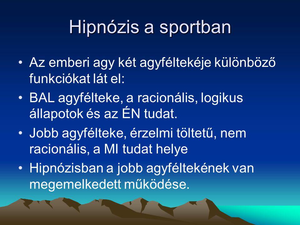 Hipnózis a sportban Az emberi agy két agyféltekéje különböző funkciókat lát el: BAL agyfélteke, a racionális, logikus állapotok és az ÉN tudat. Jobb a