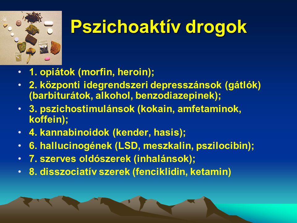 Pszichoaktív drogok Pszichoaktív drogok 1. opiátok (morfin, heroin); 2. központi idegrendszeri depresszánsok (gátlók) (barbiturátok, alkohol, benzodia