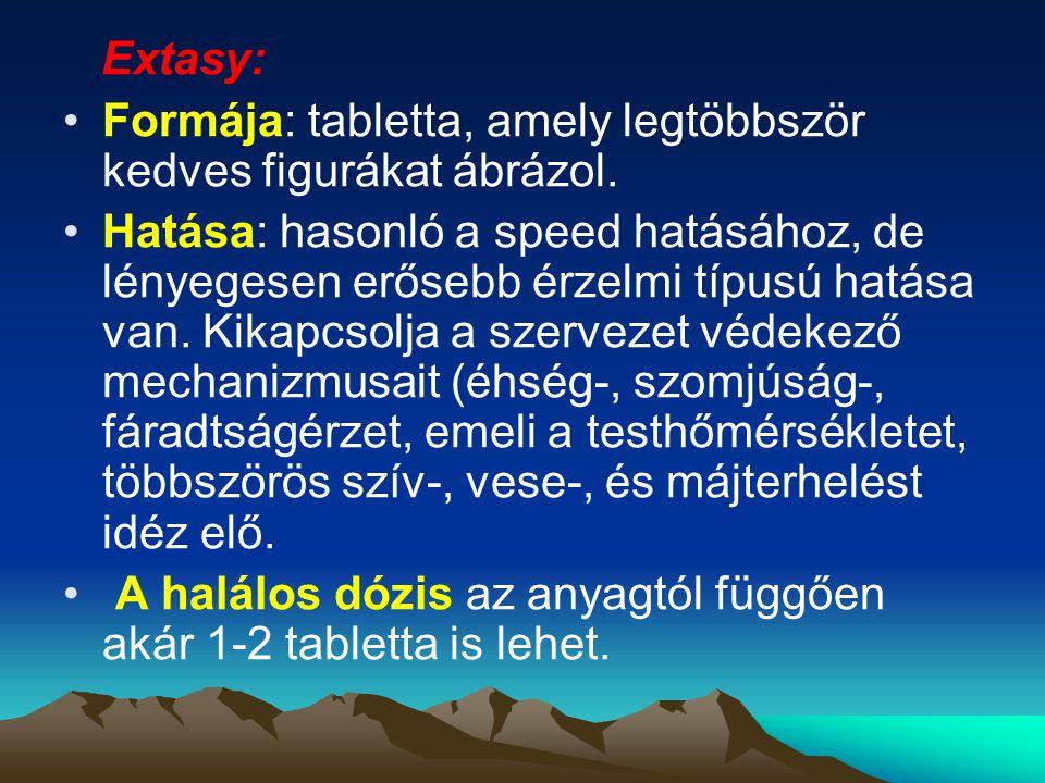 Extasy: Formája: tabletta, amely legtöbbször kedves figurákat ábrázol. Hatása: hasonló a speed hatásához, de lényegesen erősebb érzelmi típusú hatása