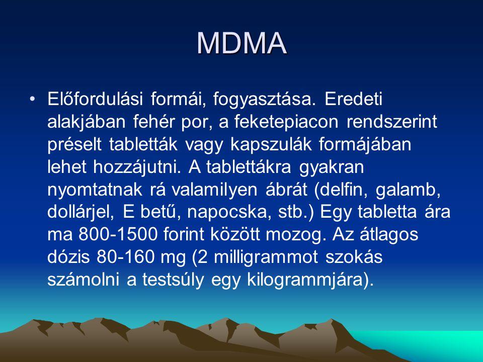 MDMA Előfordulási formái, fogyasztása. Eredeti alakjában fehér por, a feketepiacon rendszerint préselt tabletták vagy kapszulák formájában lehet hozzá