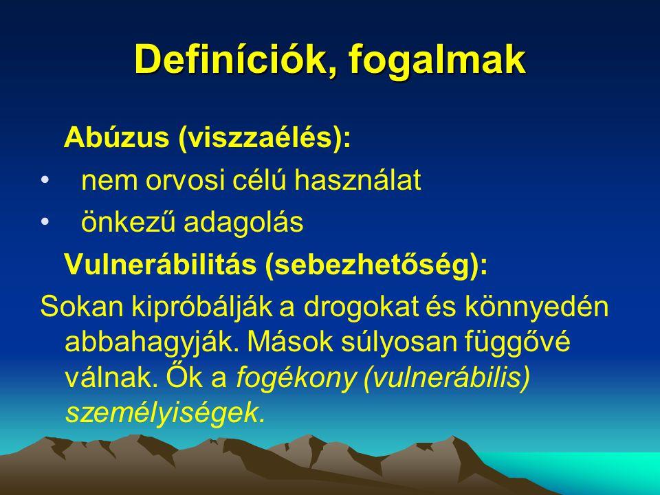 Definíciók, fogalmak Abúzus (viszzaélés): nem orvosi célú használat önkezű adagolás Vulnerábilitás (sebezhetőség): Sokan kipróbálják a drogokat és kön