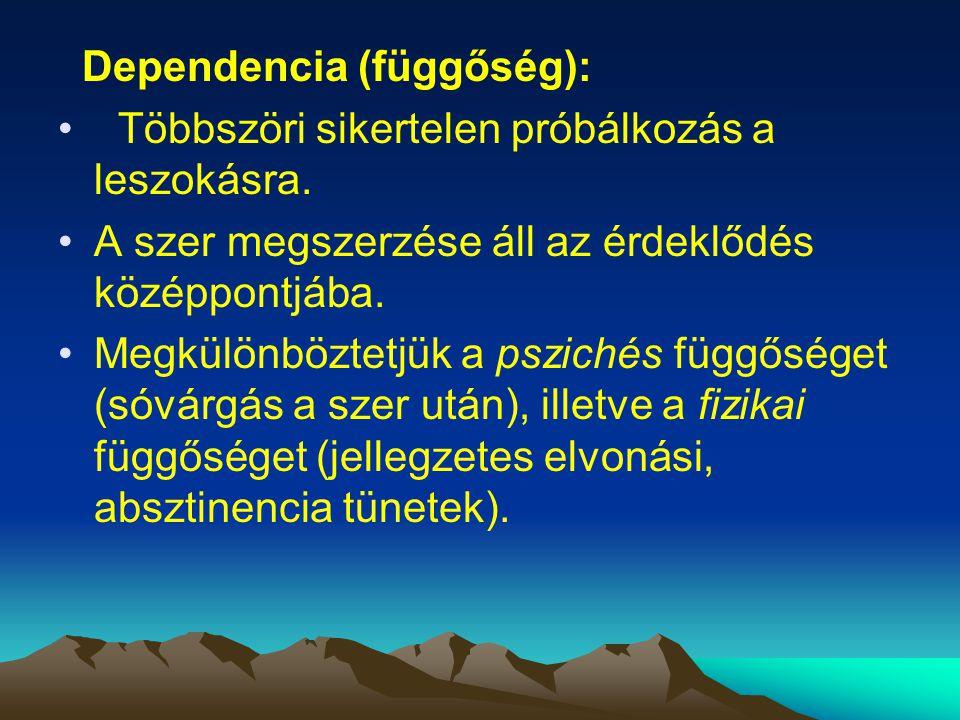Dependencia (függőség): Többszöri sikertelen próbálkozás a leszokásra. A szer megszerzése áll az érdeklődés középpontjába. Megkülönböztetjük a psziché
