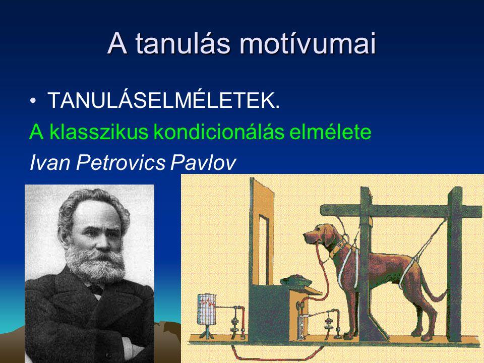 A tanulás motívumai TANULÁSELMÉLETEK. A klasszikus kondicionálás elmélete Ivan Petrovics Pavlov