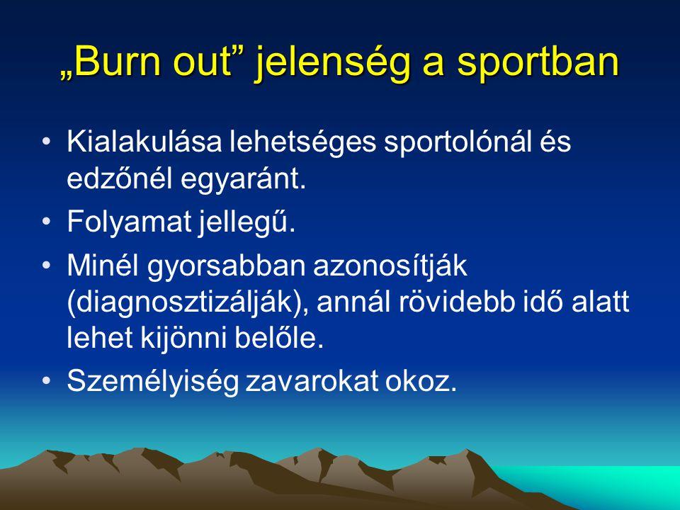 """""""Burn out"""" jelenség a sportban Kialakulása lehetséges sportolónál és edzőnél egyaránt. Folyamat jellegű. Minél gyorsabban azonosítják (diagnosztizáljá"""
