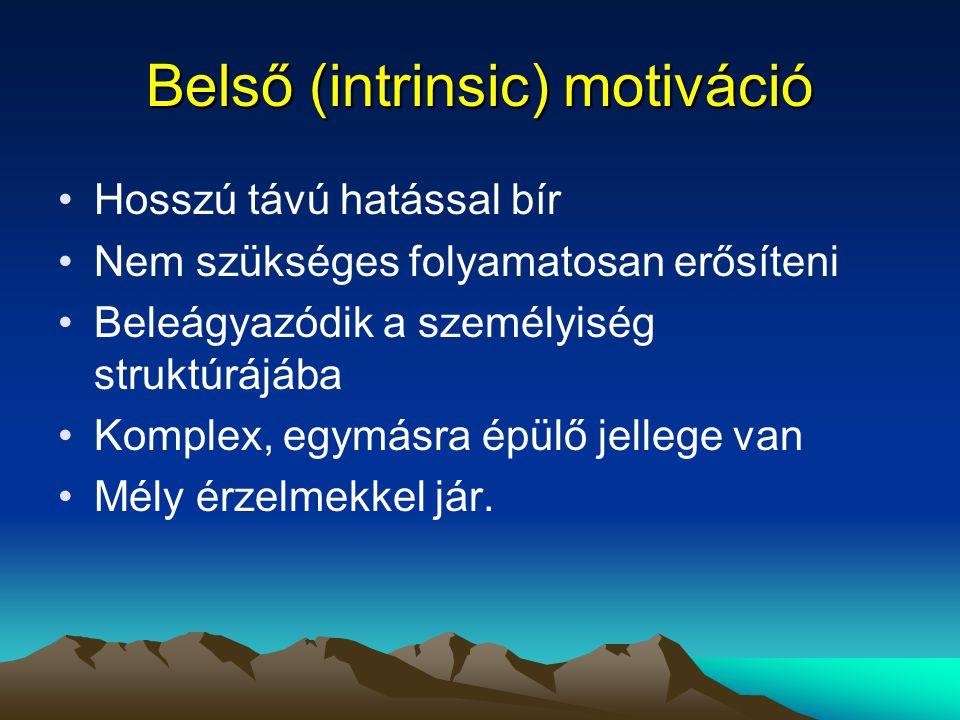 Belső (intrinsic) motiváció Hosszú távú hatással bír Nem szükséges folyamatosan erősíteni Beleágyazódik a személyiség struktúrájába Komplex, egymásra