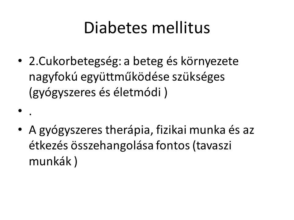 Diabetes mellitus 2.Cukorbetegség: a beteg és környezete nagyfokú együttműködése szükséges (gyógyszeres és életmódi ).