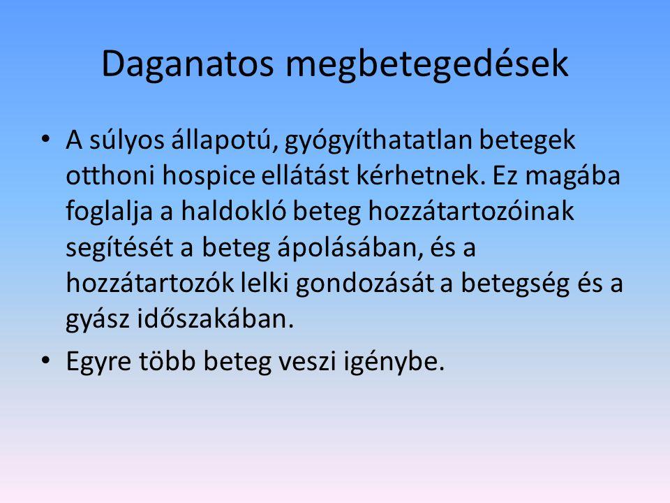 Daganatos megbetegedések A súlyos állapotú, gyógyíthatatlan betegek otthoni hospice ellátást kérhetnek.