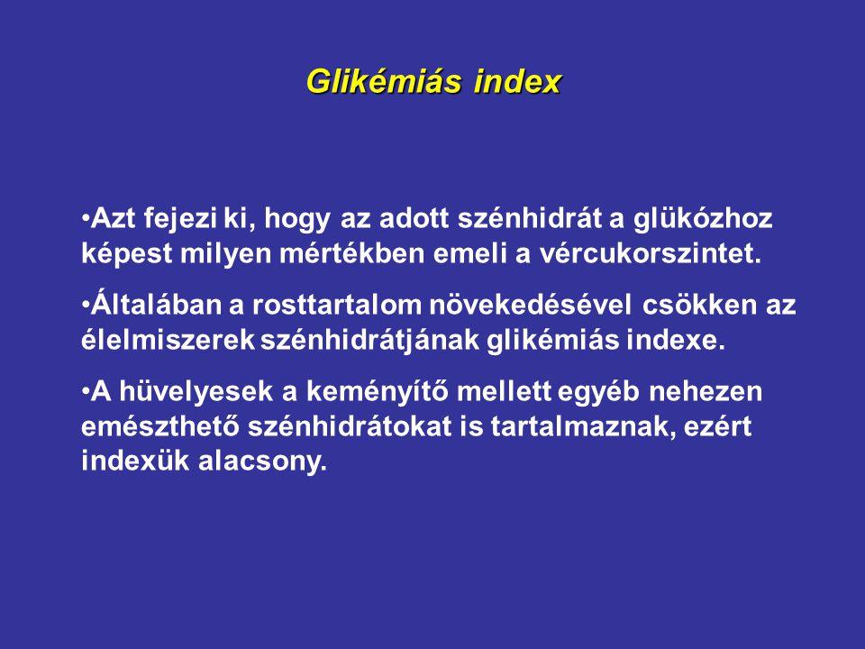 Glikémiás index Azt fejezi ki, hogy az adott szénhidrát a glükózhoz képest milyen mértékben emeli a vércukorszintet. Általában a rosttartalom növekedé