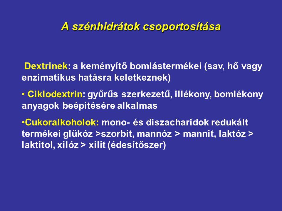 A szénhidrátok csoportosítása Dextrinek: a keményítő bomlástermékei (sav, hő vagy enzimatikus hatásra keletkeznek) Ciklodextrin: gyűrűs szerkezetű, il