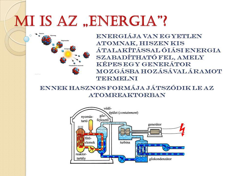 ENERGIÁJA VAN EGYETLEN ATOMNAK, HISZEN kis átalakítással ÓIÁSI ENERGIA SZABADÍTHATÓ FEL, amely képes egy generátor mozgásba hozásával áramot termelni