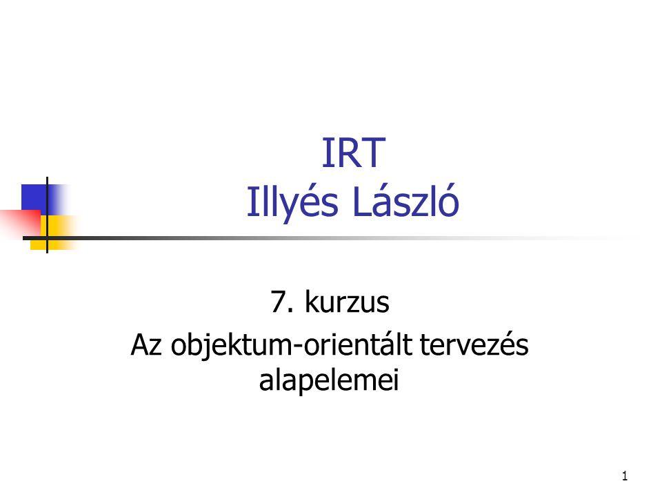 1 IRT Illyés László 7. kurzus Az objektum-orientált tervezés alapelemei