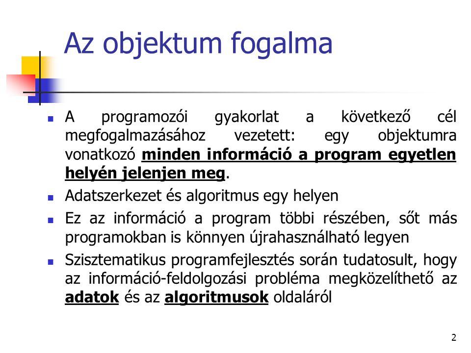 2 Az objektum fogalma A programozói gyakorlat a következő cél megfogalmazásához vezetett: egy objektumra vonatkozó minden információ a program egyetle