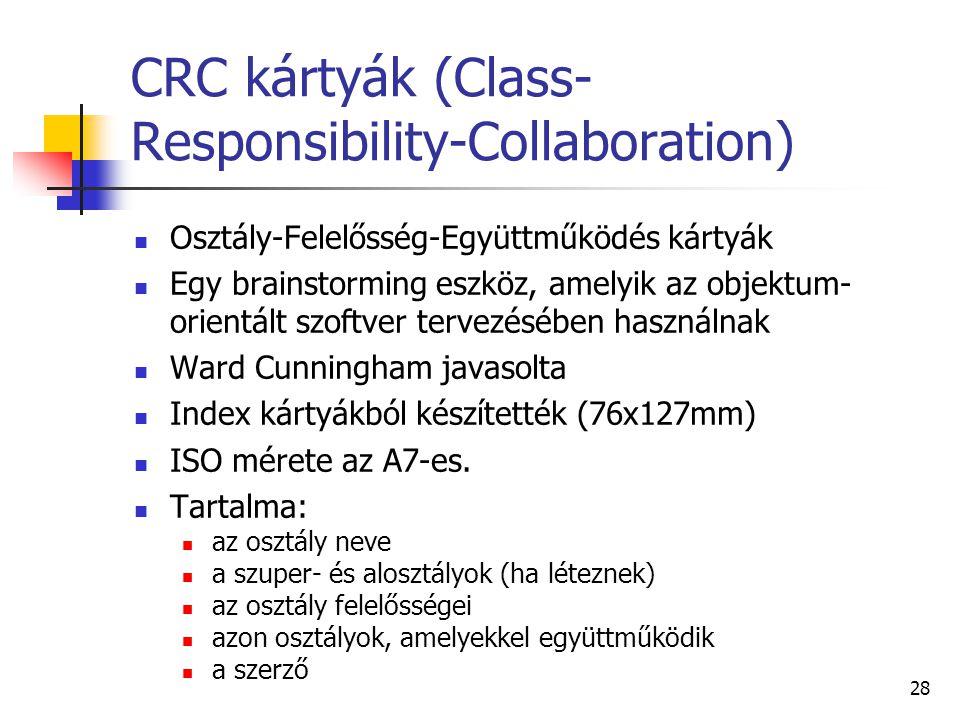 28 CRC kártyák (Class- Responsibility-Collaboration) Osztály-Felelősség-Együttműködés kártyák Egy brainstorming eszköz, amelyik az objektum- orientált