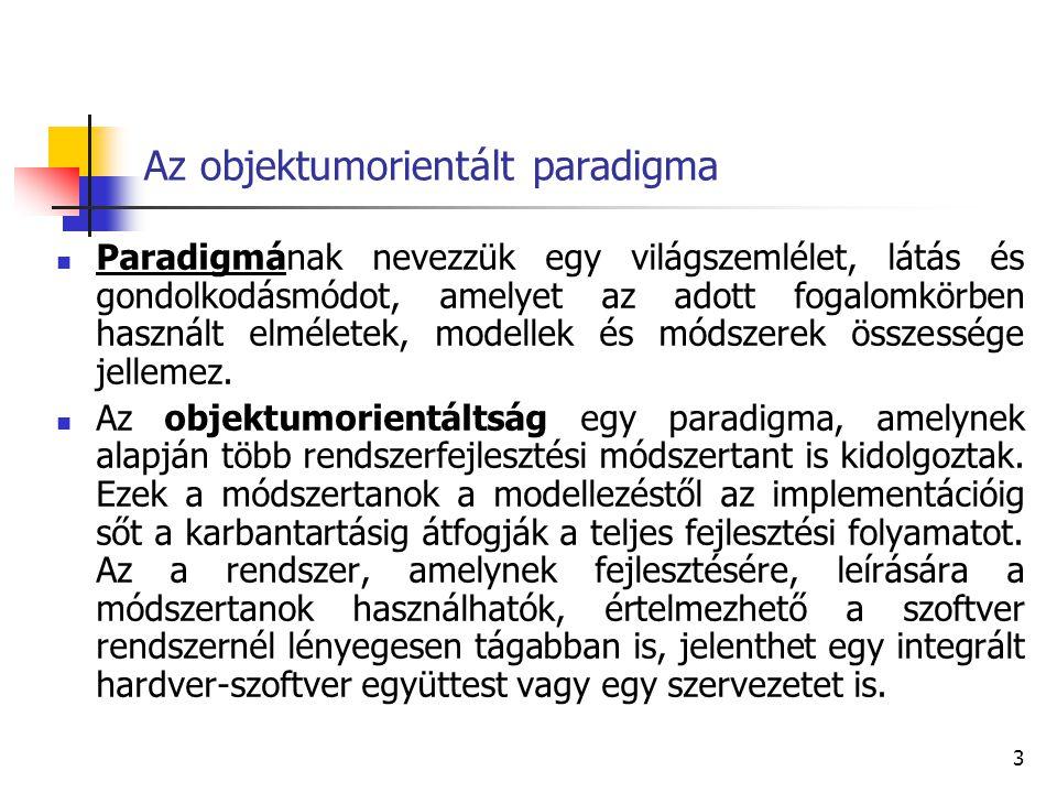 3 Az objektumorientált paradigma Paradigmának nevezzük egy világszemlélet, látás és gondolkodásmódot, amelyet az adott fogalomkörben használt elmélete