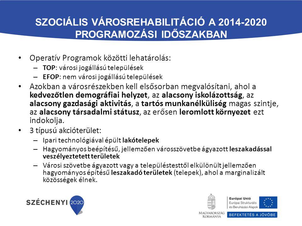 SZOCIÁLIS VÁROSREHABILITÁCIÓ A 2014-2020 PROGRAMOZÁSI IDŐSZAKBAN Operatív Programok közötti lehatárolás: – TOP: városi jogállású települések – EFOP: n