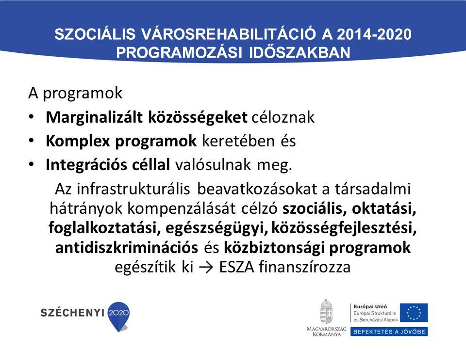 SZOCIÁLIS VÁROSREHABILITÁCIÓ A 2014-2020 PROGRAMOZÁSI IDŐSZAKBAN A programok Marginalizált közösségeket céloznak Komplex programok keretében és Integr