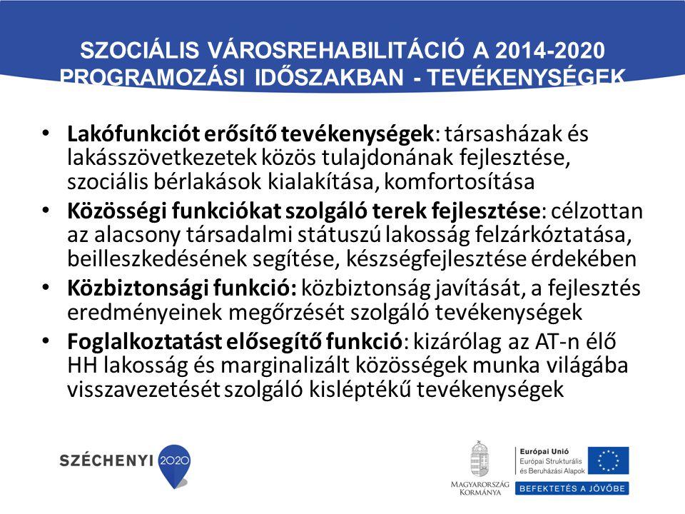 SZOCIÁLIS VÁROSREHABILITÁCIÓ A 2014-2020 PROGRAMOZÁSI IDŐSZAKBAN - TEVÉKENYSÉGEK Lakófunkciót erősítő tevékenységek: társasházak és lakásszövetkezetek