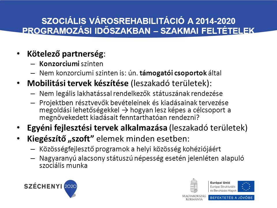 SZOCIÁLIS VÁROSREHABILITÁCIÓ A 2014-2020 PROGRAMOZÁSI IDŐSZAKBAN – SZAKMAI FELTÉTELEK Kötelező partnerség: – Konzorciumi szinten – Nem konzorciumi szi