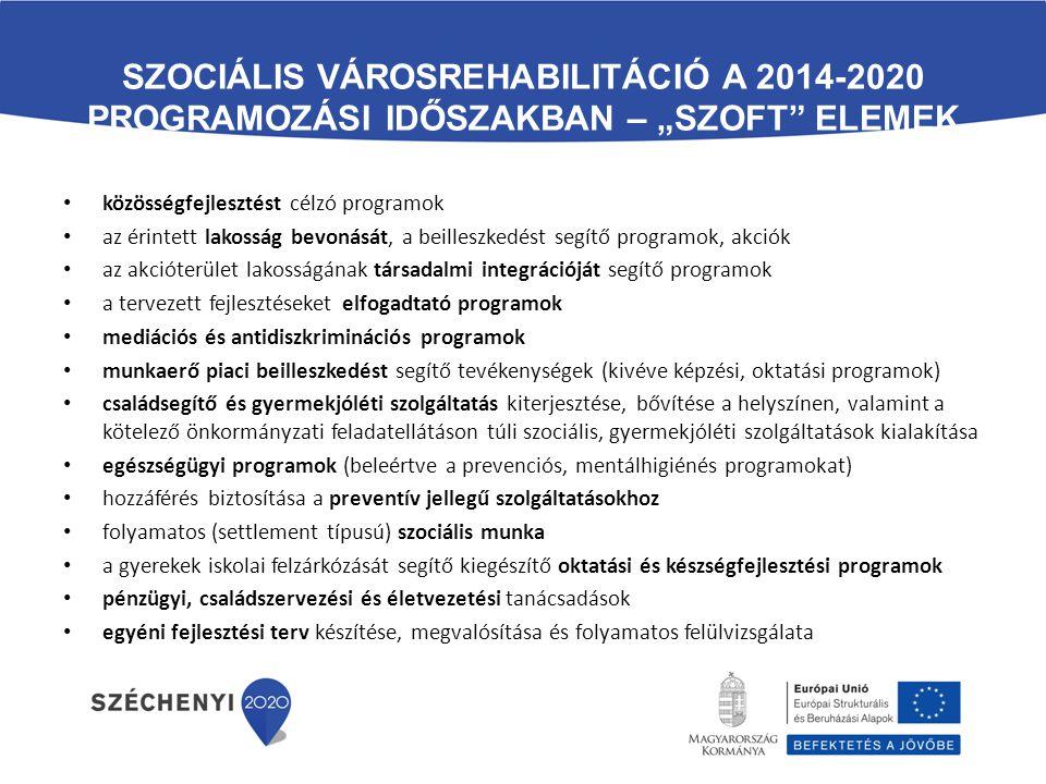 """SZOCIÁLIS VÁROSREHABILITÁCIÓ A 2014-2020 PROGRAMOZÁSI IDŐSZAKBAN – """"SZOFT"""" ELEMEK közösségfejlesztést célzó programok az érintett lakosság bevonását,"""