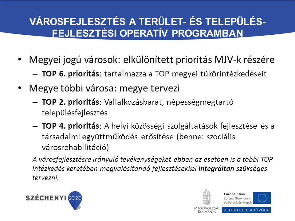 VÁROSFEJLESZTÉS A TERÜLET- ÉS TELEPÜLÉS- FEJLESZTÉSI OPERATÍV PROGRAMBAN Megyei jogú városok: elkülönített prioritás MJV-k részére – TOP 6. prioritás: