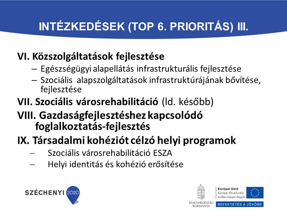 INTÉZKEDÉSEK (TOP 6. PRIORITÁS) III. VI. Közszolgáltatások fejlesztése – Egészségügyi alapellátás infrastrukturális fejlesztése – Szociális alapszolgá