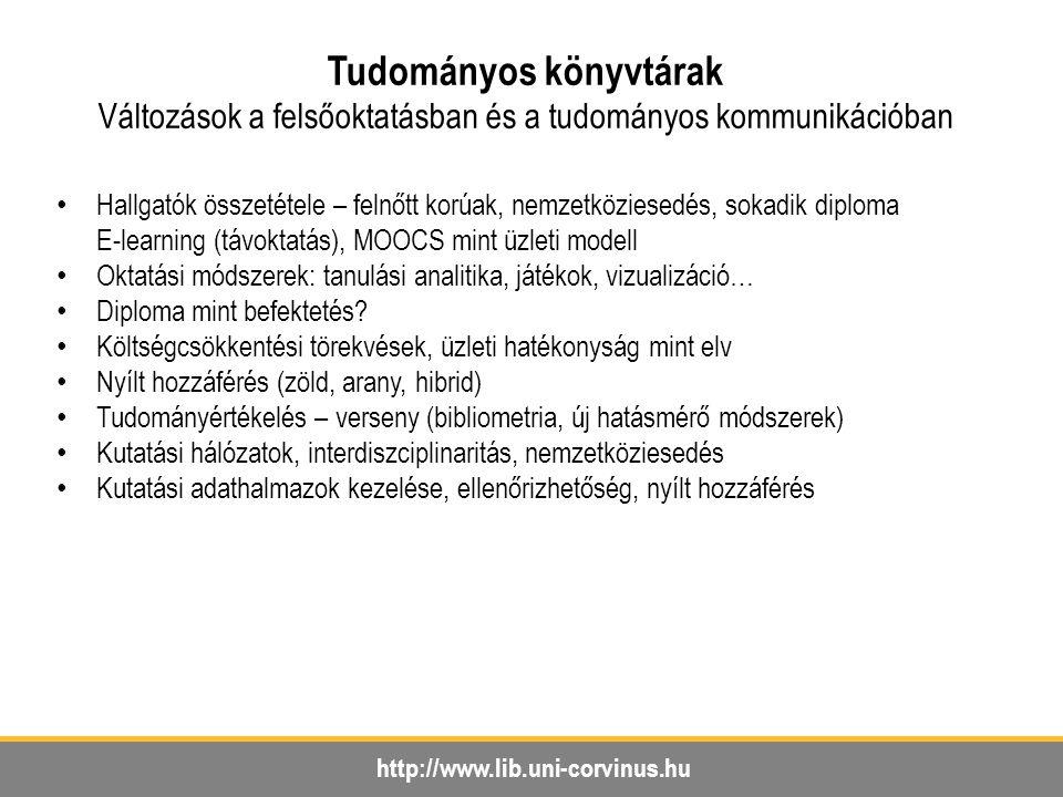 http://www.lib.uni-corvinus.hu Tudományos könyvtárak Változások a felsőoktatásban és a tudományos kommunikációban Hallgatók összetétele – felnőtt korú
