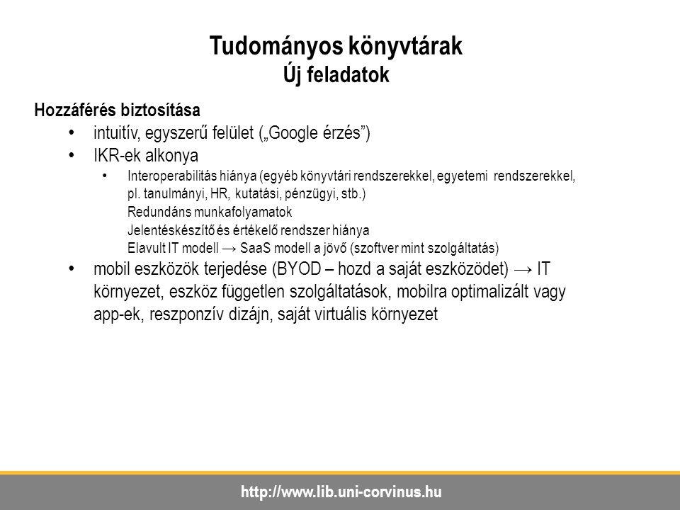 """http://www.lib.uni-corvinus.hu Tudományos könyvtárak Új feladatok Hozzáférés biztosítása intuitív, egyszerű felület (""""Google érzés ) IKR-ek alkonya Interoperabilitás hiánya (egyéb könyvtári rendszerekkel, egyetemi rendszerekkel, pl."""