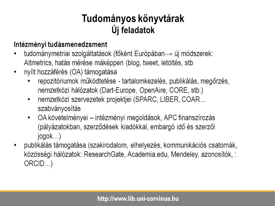 http://www.lib.uni-corvinus.hu Tudományos könyvtárak Új feladatok Intézményi tudásmenedzsment tudománymetriai szolgáltatások (főként Európában→ új módszerek: Altmetrics, hatás mérése máképpen (blog, tweet, letöltés, stb nyílt hozzáférés (OA) támogatása repozitóriumok működtetése - tartalomkezelés, publikálás, megőrzés, nemzetközi hálózatok (Dart-Europe, OpenAire, CORE, stb.) nemzetközi szervezetek projektjei (SPARC, LIBER, COAR… szabványosítás OA követelményei – intézményi megoldások, APC finanszírozás (pályázatokban, szerződések kiadókkal, embargó idő és szerzői jogok…) publikálás támogatása (szakirodalom, elhelyezés, kommunikációs csatornák, közösségi hálózatok: ResearchGate, Academia.edu, Mendeley, azonosítók, : ORCID…)