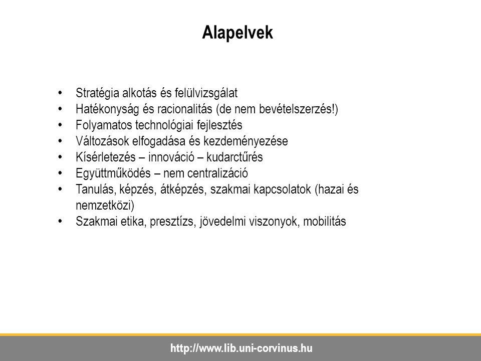 http://www.lib.uni-corvinus.hu Alapelvek Stratégia alkotás és felülvizsgálat Hatékonyság és racionalitás (de nem bevételszerzés!) Folyamatos technológ