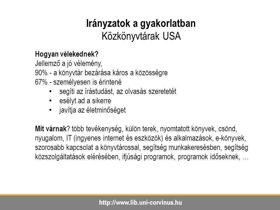 http://www.lib.uni-corvinus.hu Irányzatok a gyakorlatban Közkönyvtárak USA Hogyan vélekednek.