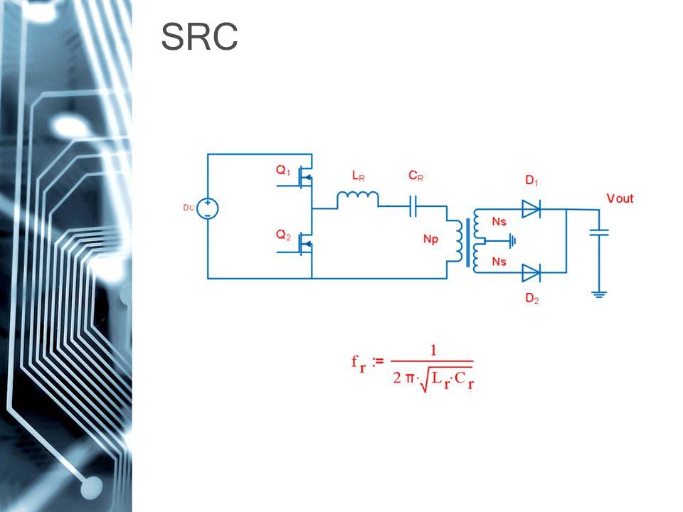 A rezonáns tank sorosan van a terheléssel A rezonáns tank a terheléssel feszültségosztót alkot (G<=1) Képes a terhelés nélküli működésre, de a kimenetet szinte nem lehet szabályozni ZVS eléréséhez a rezonancia frekvencia felett kell lenni, hogy induktív jellegű legyen a Tank SRC