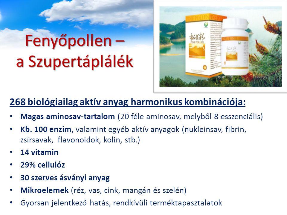 Fenyőpollen – a Szupertáplálék Magas aminosav-tartalom (20 féle aminosav, melyből 8 esszenciális) Kb. 100 enzim, valamint egyéb aktív anyagok (nuklein