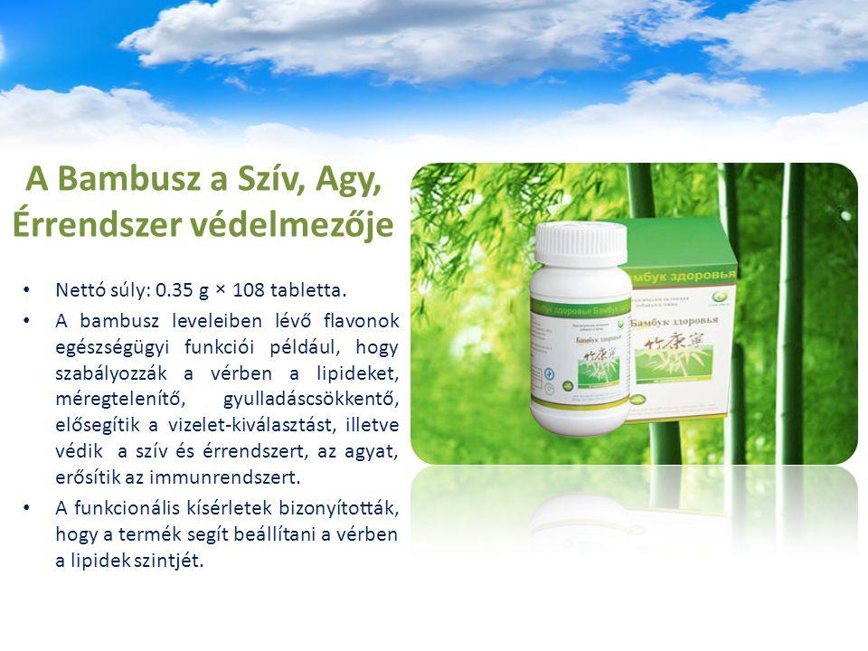 A Bambusz a Szív, Agy, Érrendszer védelmezője Nettó súly: 0.35 g × 108 tabletta. A bambusz leveleiben lévő flavonok egészségügyi funkciói például, hog