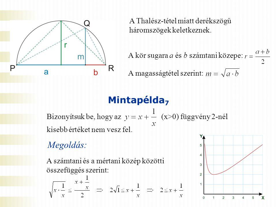 A Thalész-tétel miatt derékszögű háromszögek keletkeznek. A magasságtétel szerint: A kör sugara a és b számtani közepe: Mintapélda 7 Bizonyítsuk be, h
