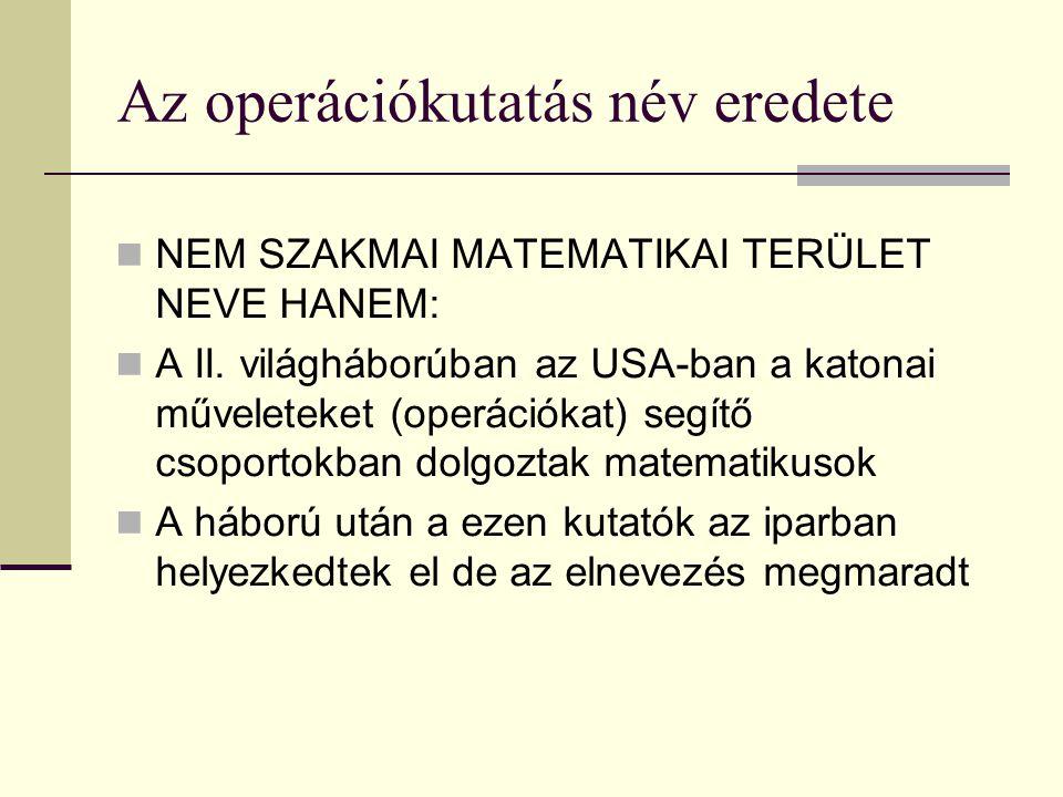 Az operációkutatás név eredete NEM SZAKMAI MATEMATIKAI TERÜLET NEVE HANEM: A II. világháborúban az USA-ban a katonai műveleteket (operációkat) segítő