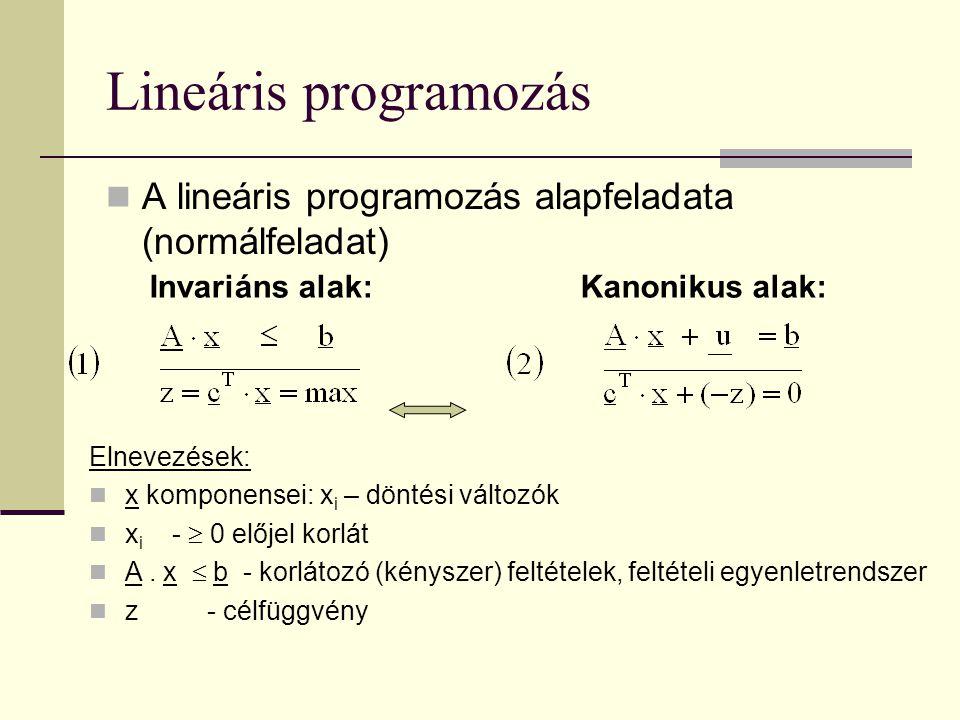 Lineáris programozás A lineáris programozás alapfeladata (normálfeladat) Kanonikus alak:Invariáns alak: Elnevezések: x komponensei: x i – döntési vált