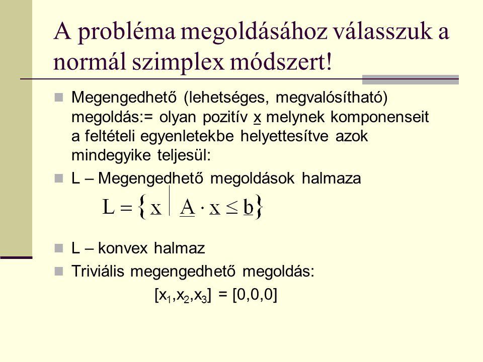 Megengedhető (lehetséges, megvalósítható) megoldás:= olyan pozitív x melynek komponenseit a feltételi egyenletekbe helyettesítve azok mindegyike telje