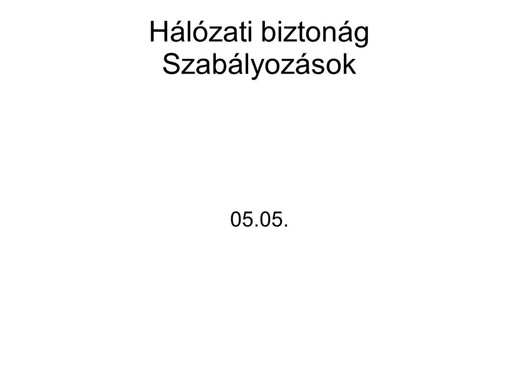 Hálózati biztonág Szabályozások 05.05.