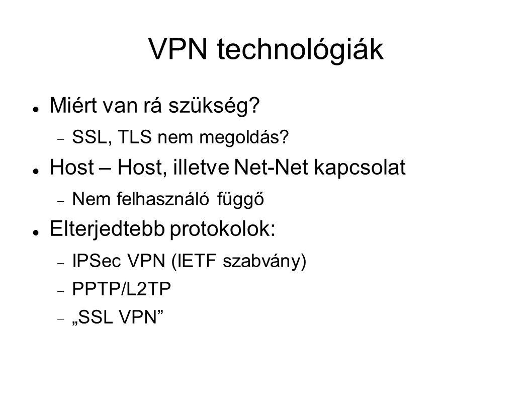 VPN technológiák Miért van rá szükség.  SSL, TLS nem megoldás.