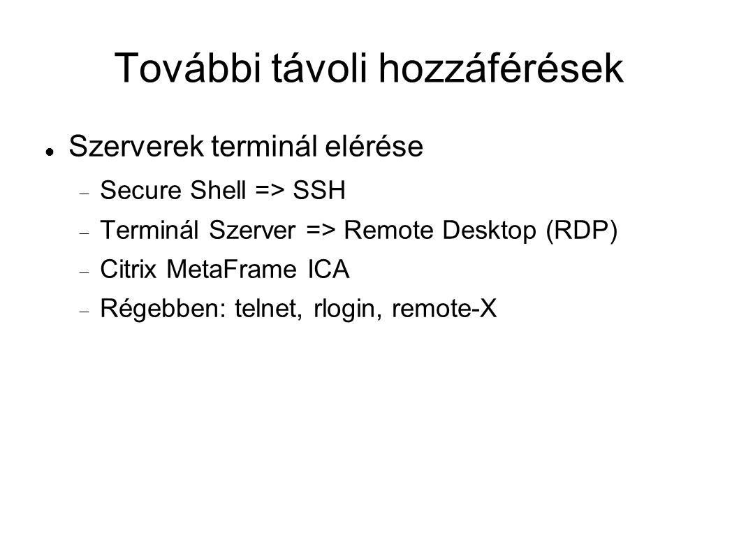 További távoli hozzáférések Szerverek terminál elérése  Secure Shell => SSH  Terminál Szerver => Remote Desktop (RDP)  Citrix MetaFrame ICA  Régebben: telnet, rlogin, remote-X